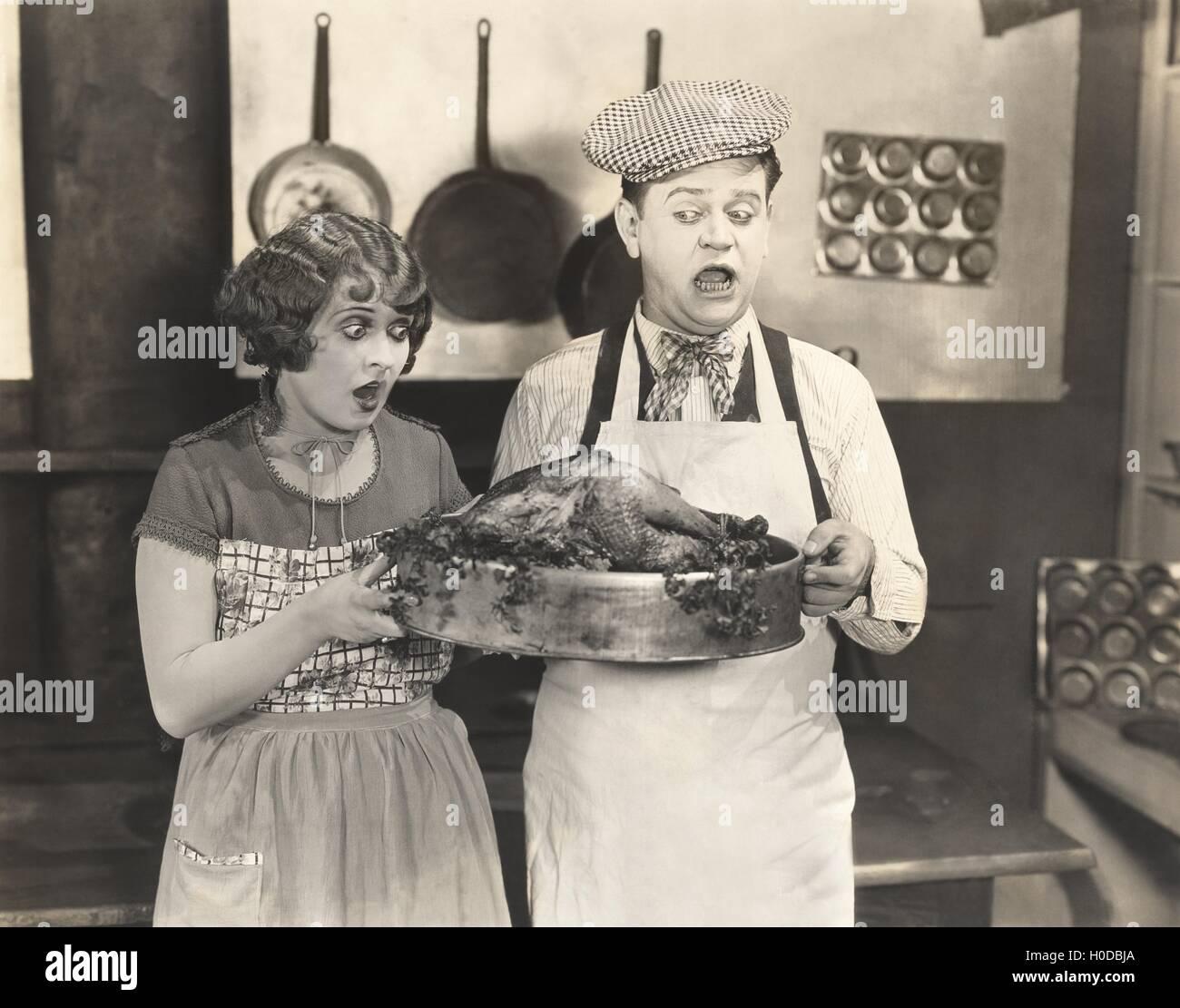 Thanksgiving dinner surprise - Stock Image