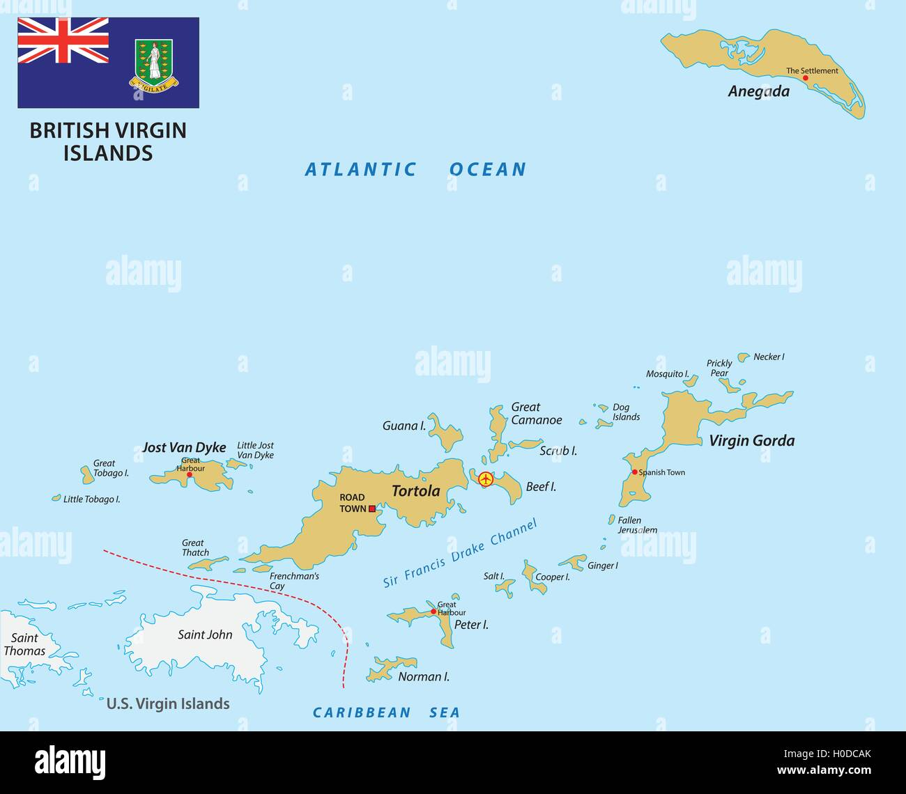 british virgin islands map with flag Stock Vector Art & Illustration ...