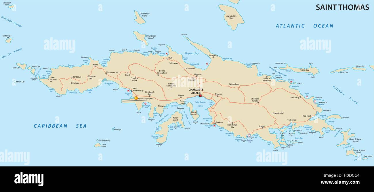 Picture of: Saint Thomas U S Virgin Islands Map Stock Vector Image Art Alamy