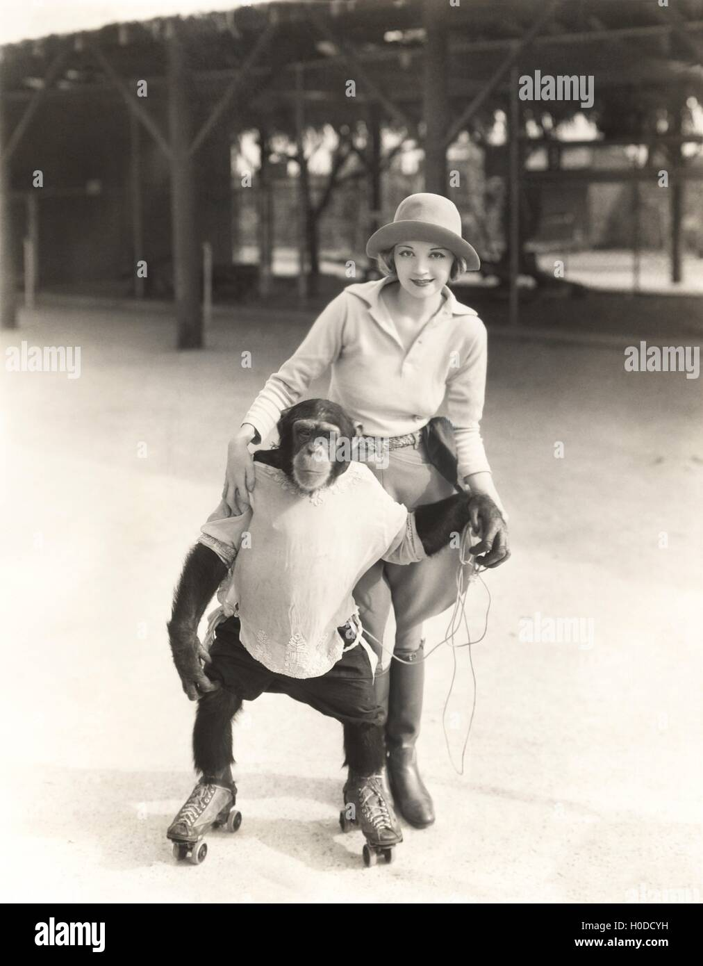 Woman with monkey on roller skates - Stock Image
