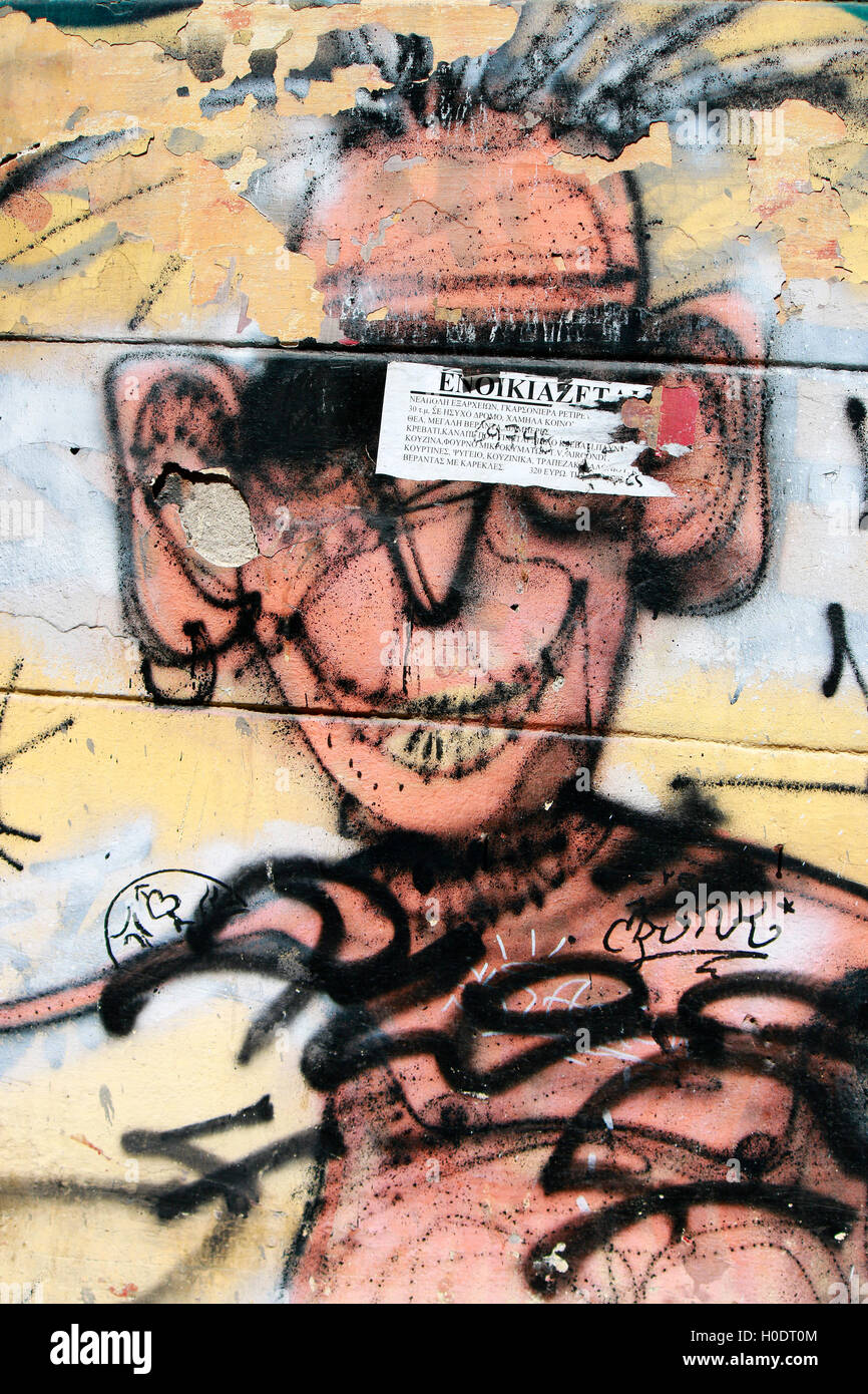 Graffity - a caricature showing Keith Richards of the Riolling Stones, Athens, Greece. - Stock Image
