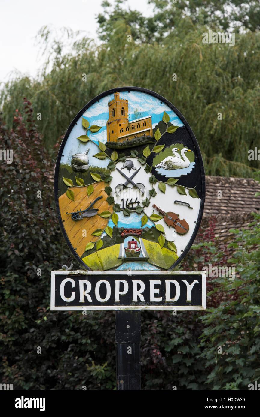 Cropredy village sign. Oxfordshire, England - Stock Image