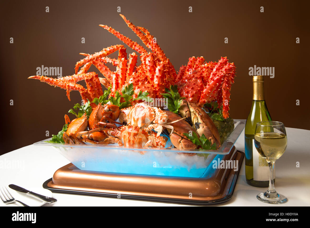 Summer Crab Feast dinner buffet to enjoy Alaska king crab legs and Canadian snow crab legs with a variety of creative - Stock Image