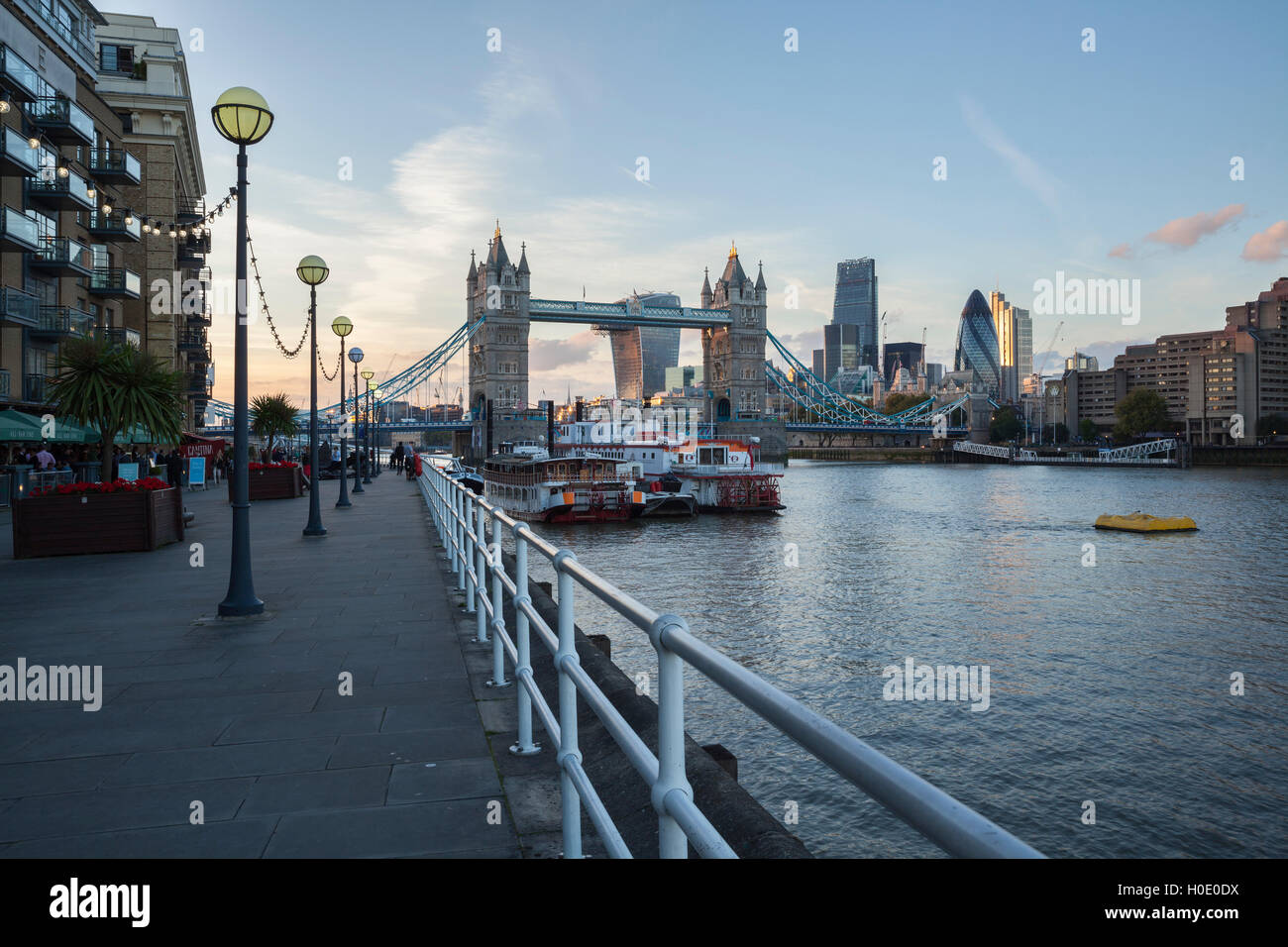 Tower Bridge and City of London from the Southbank of the River Thames, London, England, United Kingdom, Europe - Stock Image