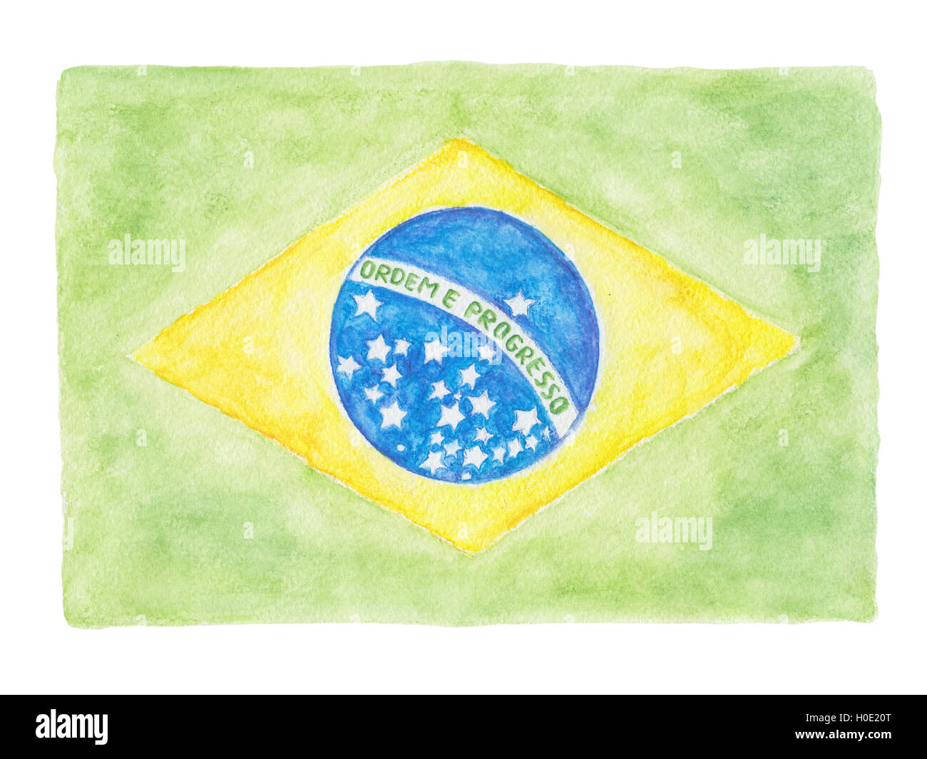 Brazil flag with the national motto 'Ordem e Progresso' (portuguese 'Order and Progress') - Stock Image
