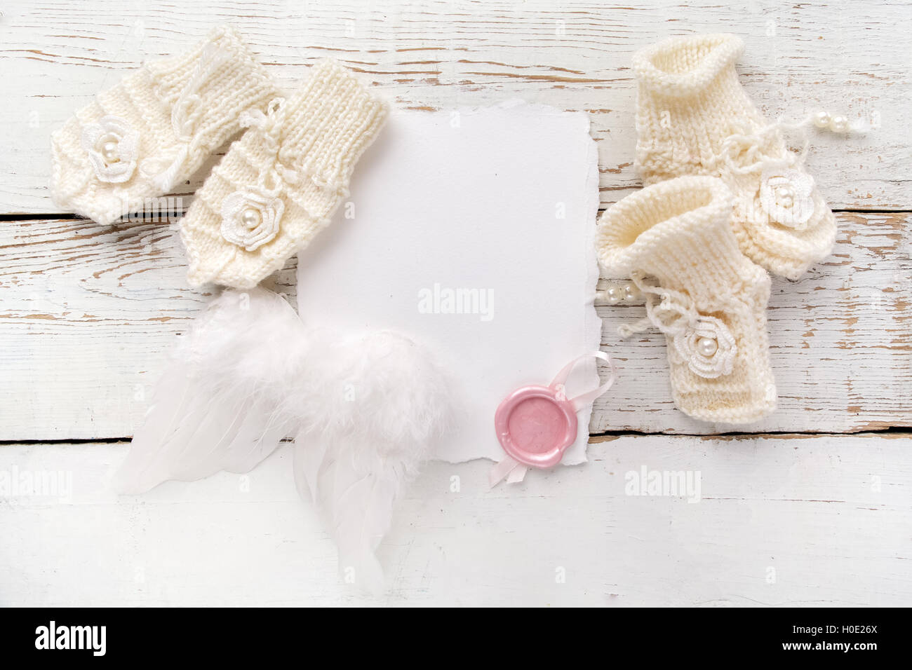 New Born Or Baptism Greeting Card Blank With Baby Girl Shoes