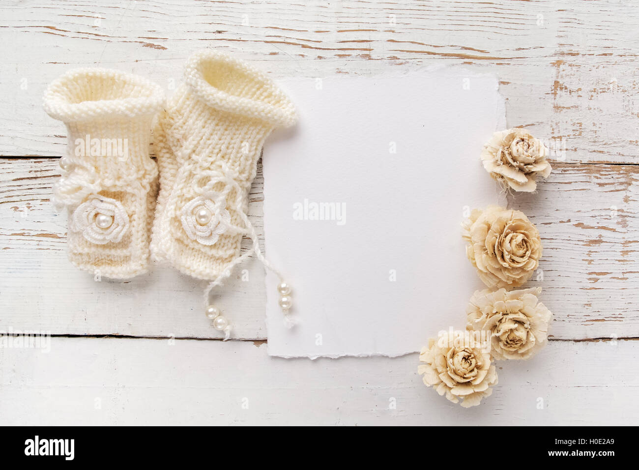 New Born Or Baptism Greeting Card Blank With Baby Girl Shoes And