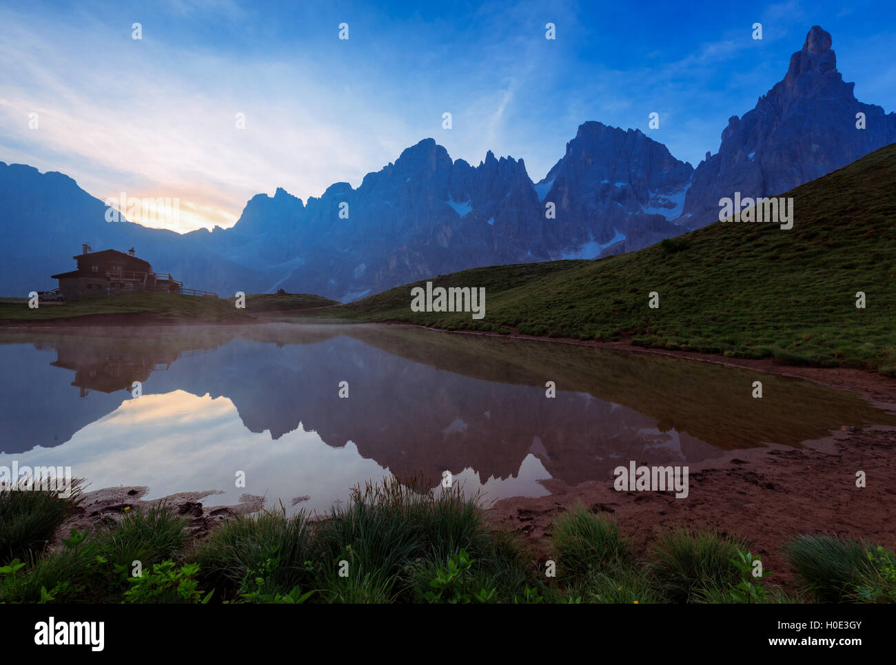 Refuge at Rolle Pass, Passo Rolle, Primiero valley, Trentino, Italy - Stock Image