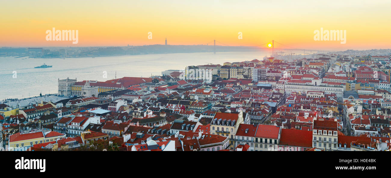 Lisbon panorama in the beautiful sunset. Portugal - Stock Image