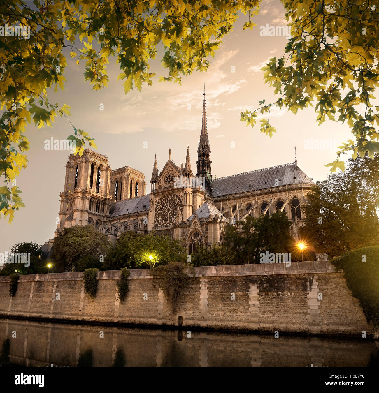Notre Dame in Paris at sunset, France - Stock Image