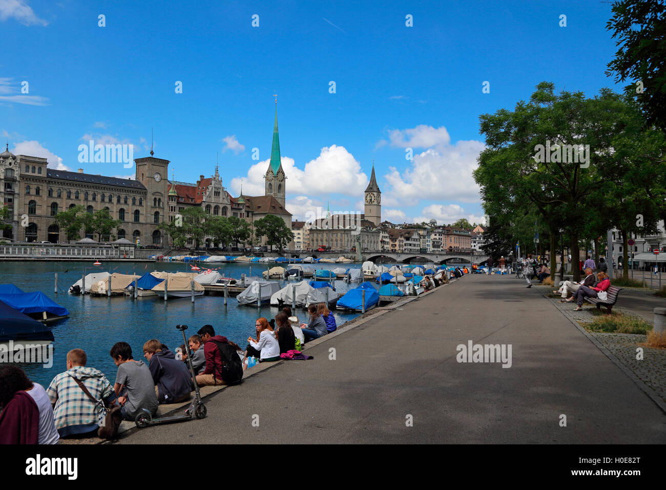 Zurich Switzerland Limmat - Stock Image