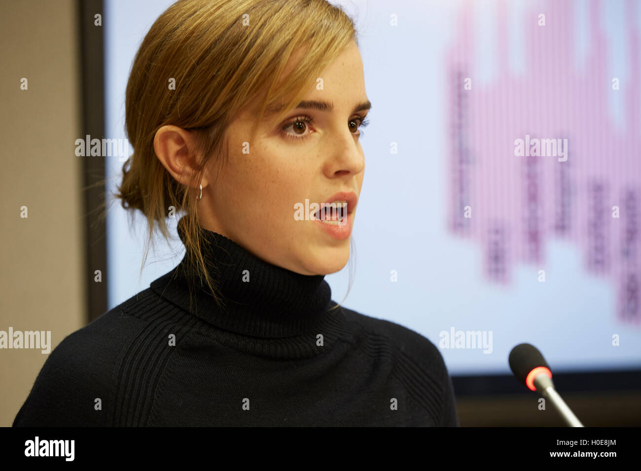New York, United States. 20th Sep, 2016. UN Woman's Goodwill Ambassador, Emma Watson, to launch HeForShe impact - Stock Image