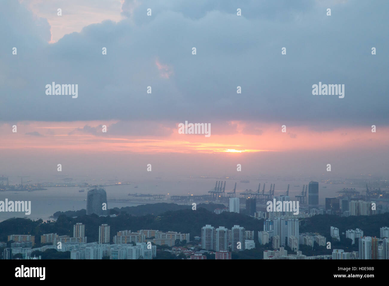 Sunset over Singapore - Stock Image
