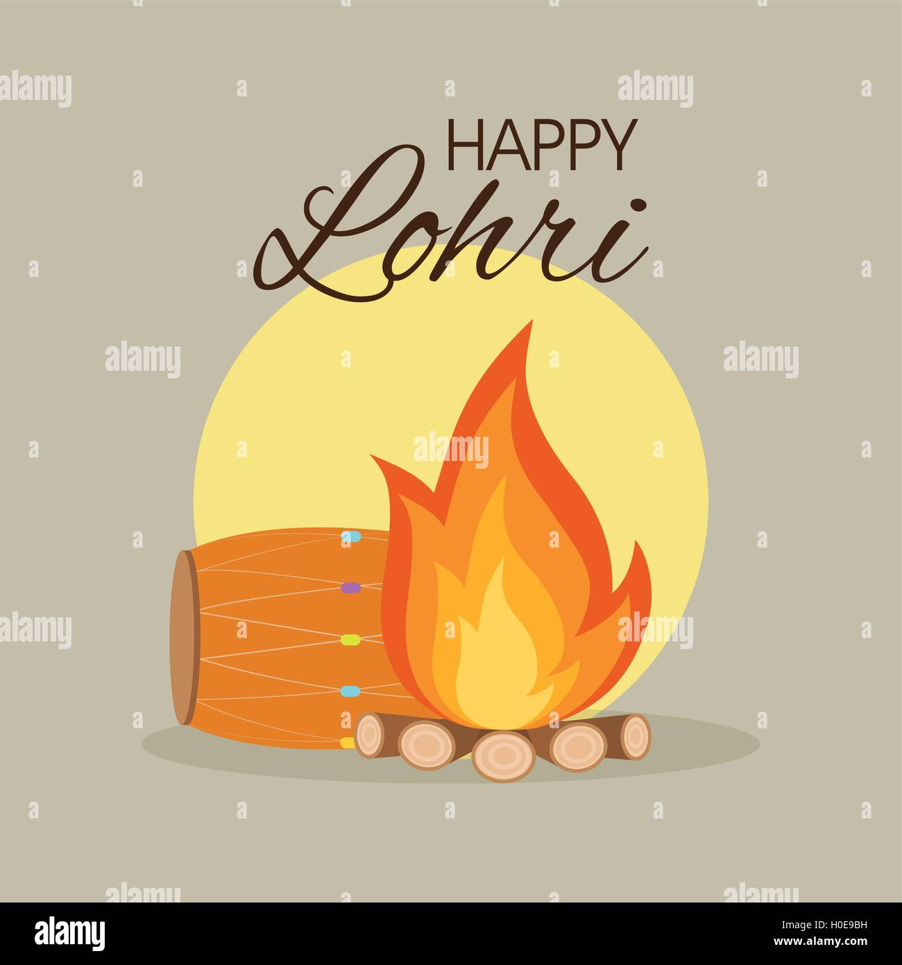 happy lohri background - Stock Vector