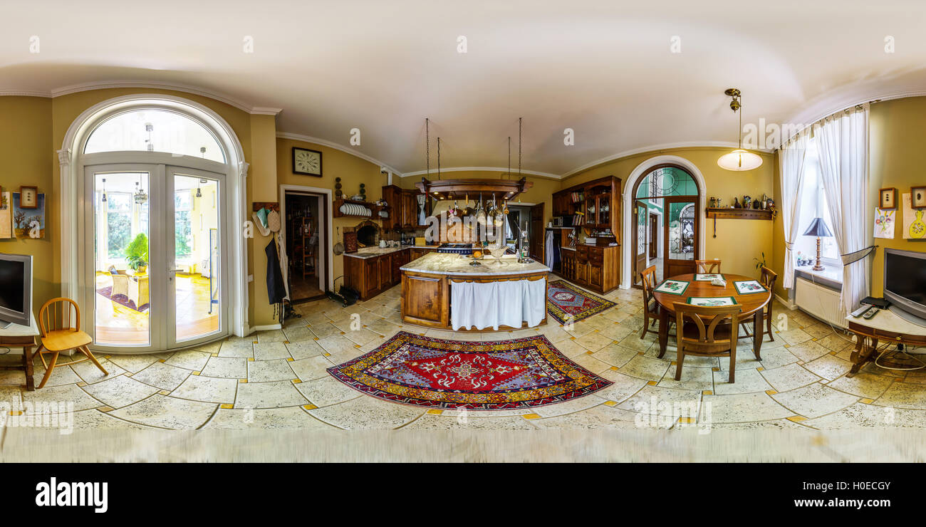 Home Interior In Panoramic 360 Degree View, Full Sphere