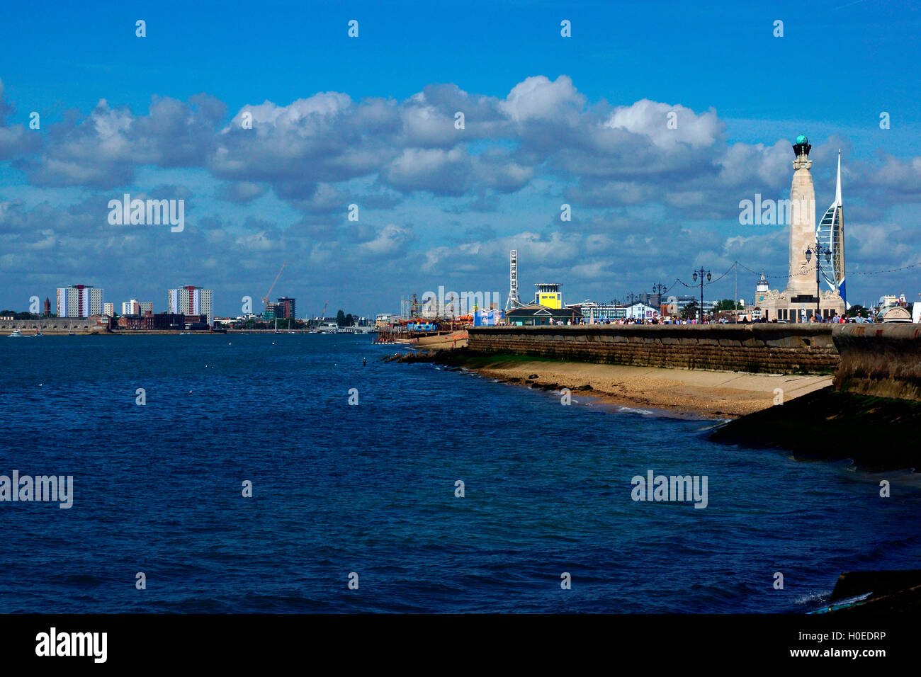 LOOKING WEST TO PORTMOUTH HARBOUR, - Stock Image