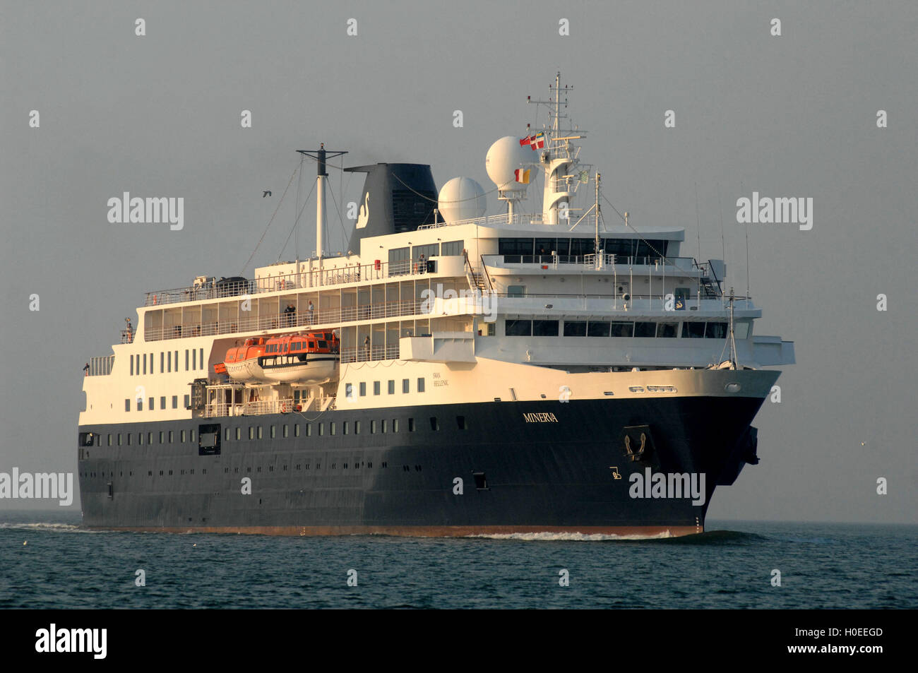 MV Minerva owned by Swan Hellenic sailing to Portsmouth - Stock Image