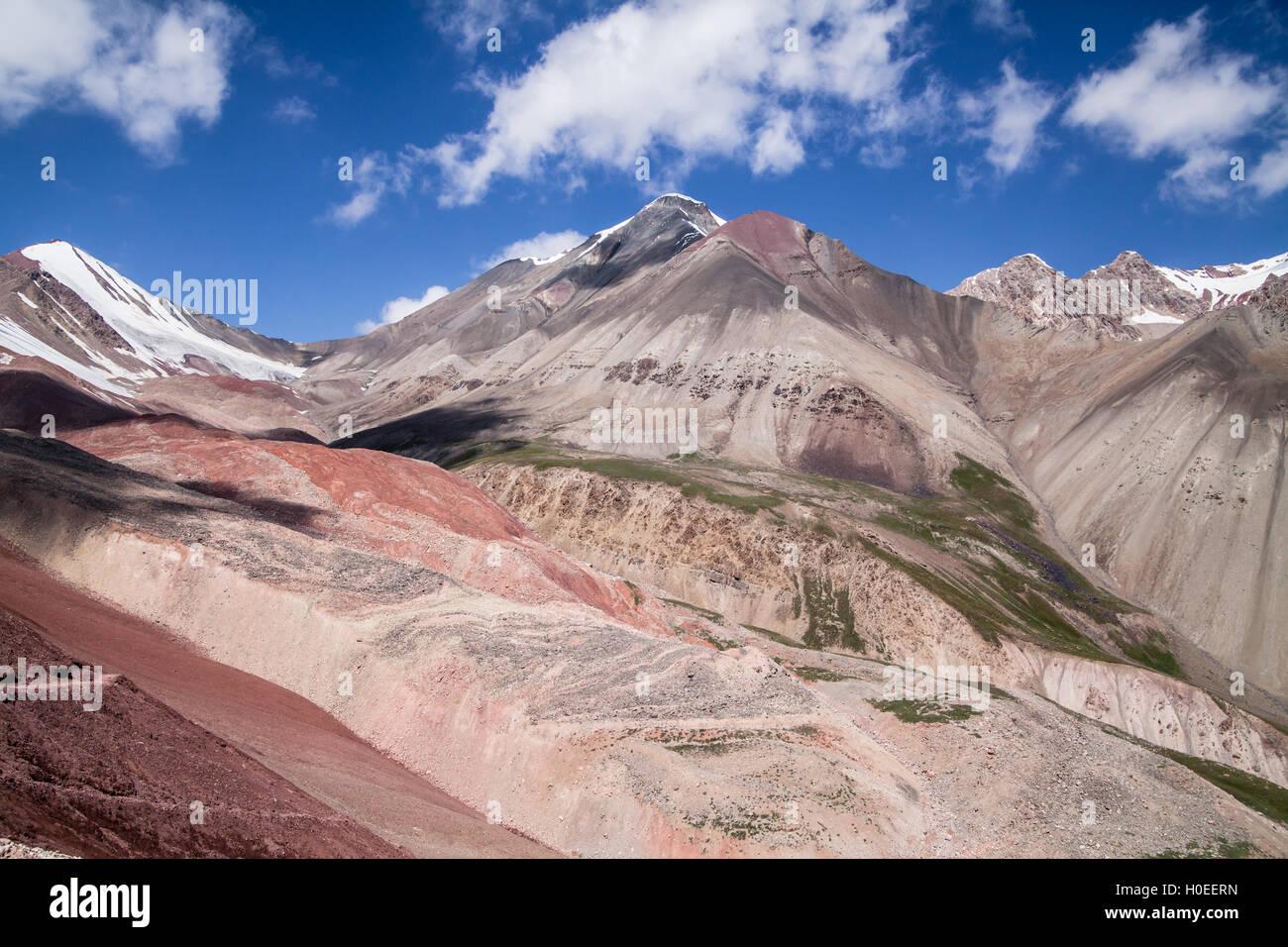 Beautiful view of Pamir mountains near the Lenin peak, Kyrgyzstan - Stock Image