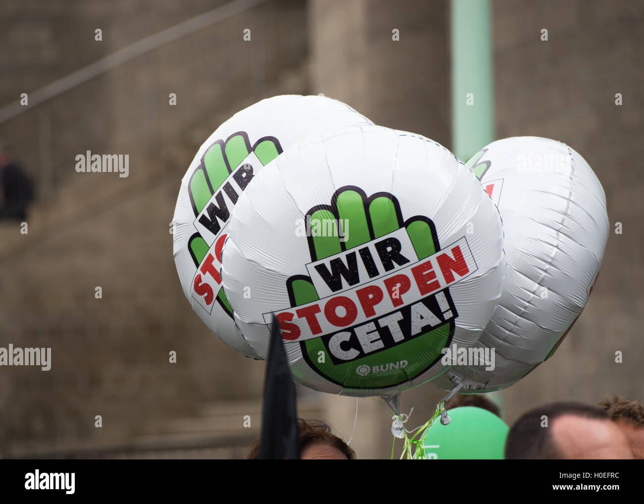 Rally against TTIP, CETA and TISA in Cologne, Germany - Stock Image
