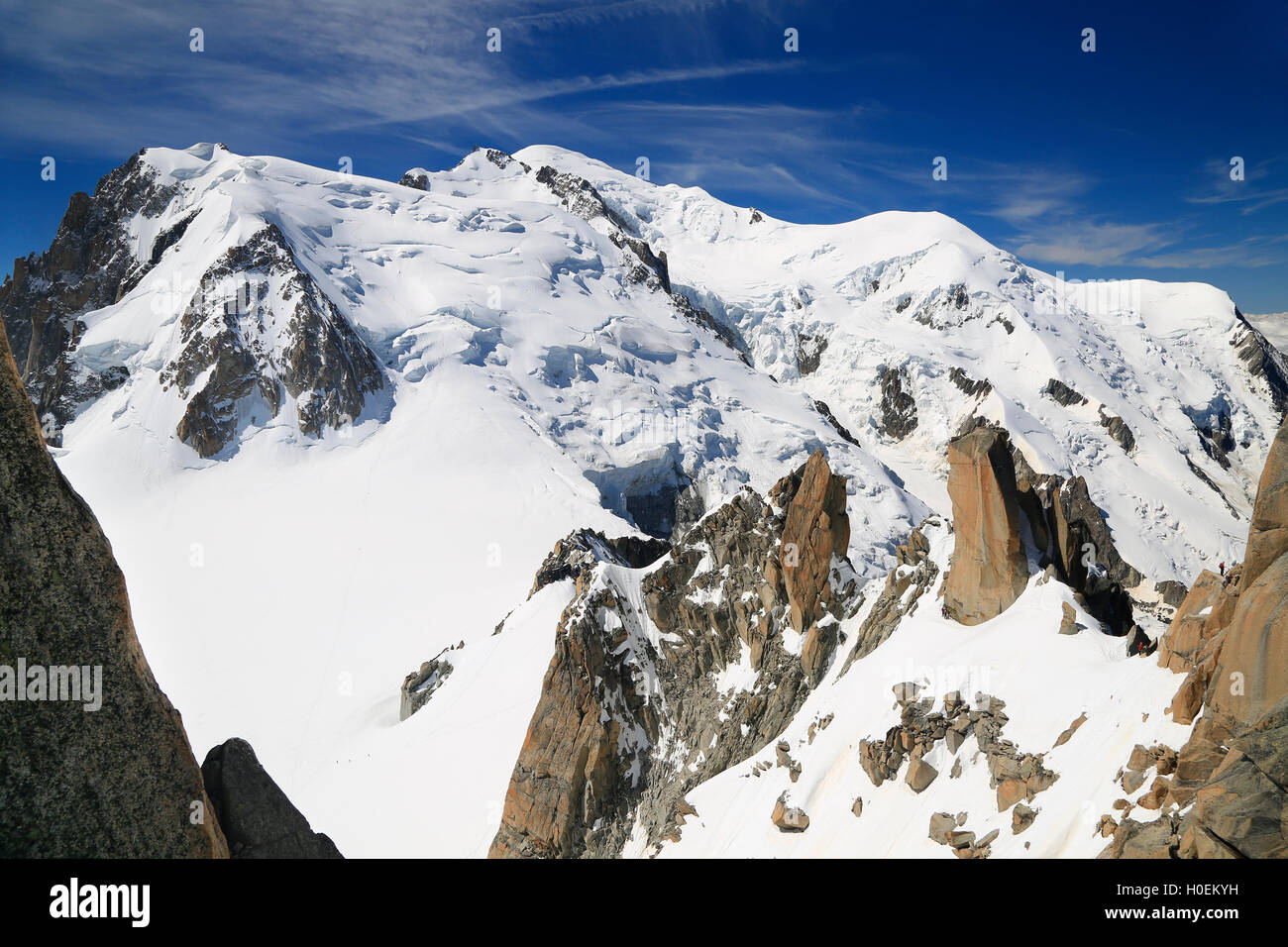 Mont Blanc viewed from Aiguille du Midi, Chamonix, France - Stock Image