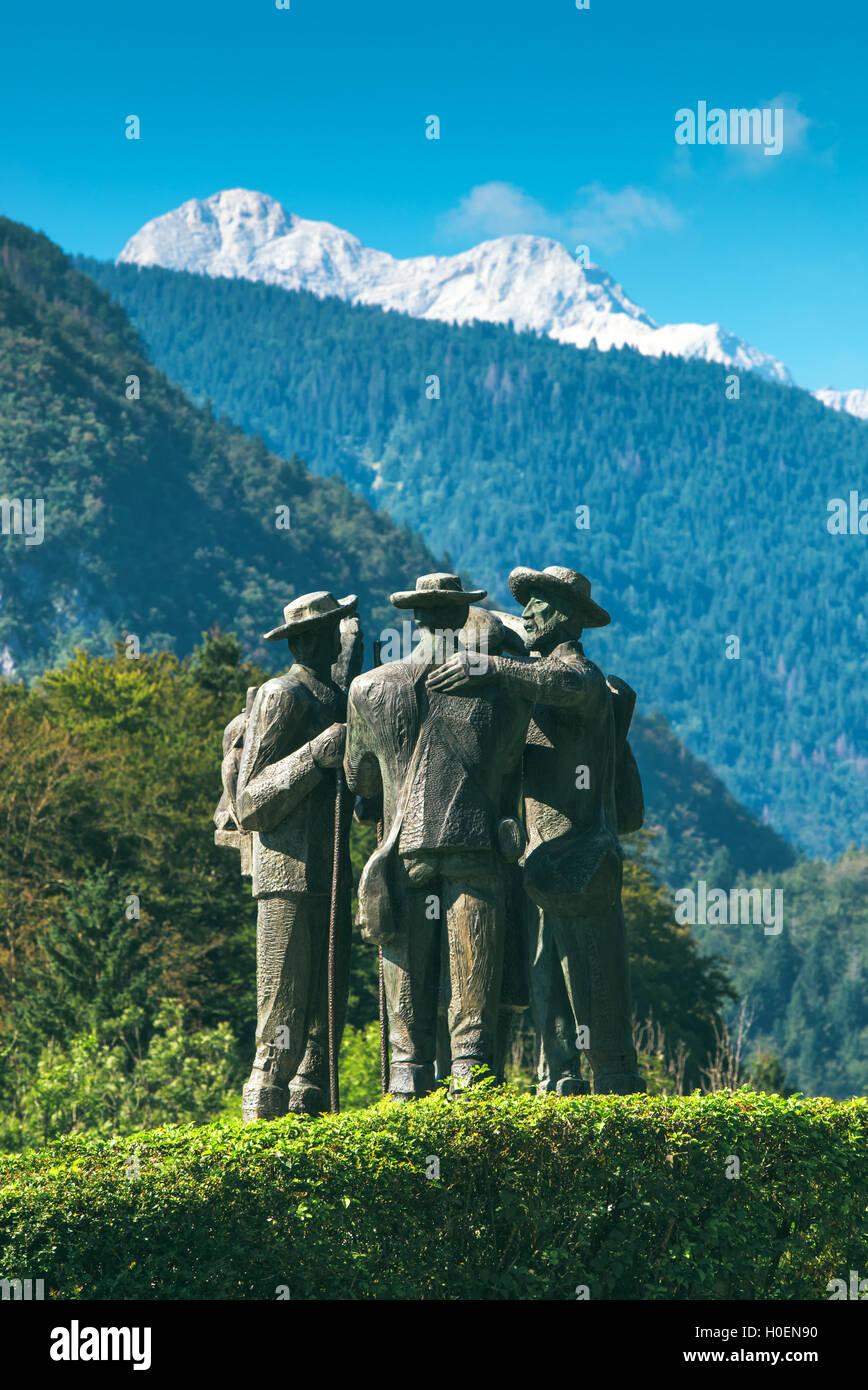 RIBCEV LAZ, SLOVENIA - AUGUST 25, 2016: Four brave men from Bohinj - the first men on Triglav. Statue of Bohinj - Stock Image