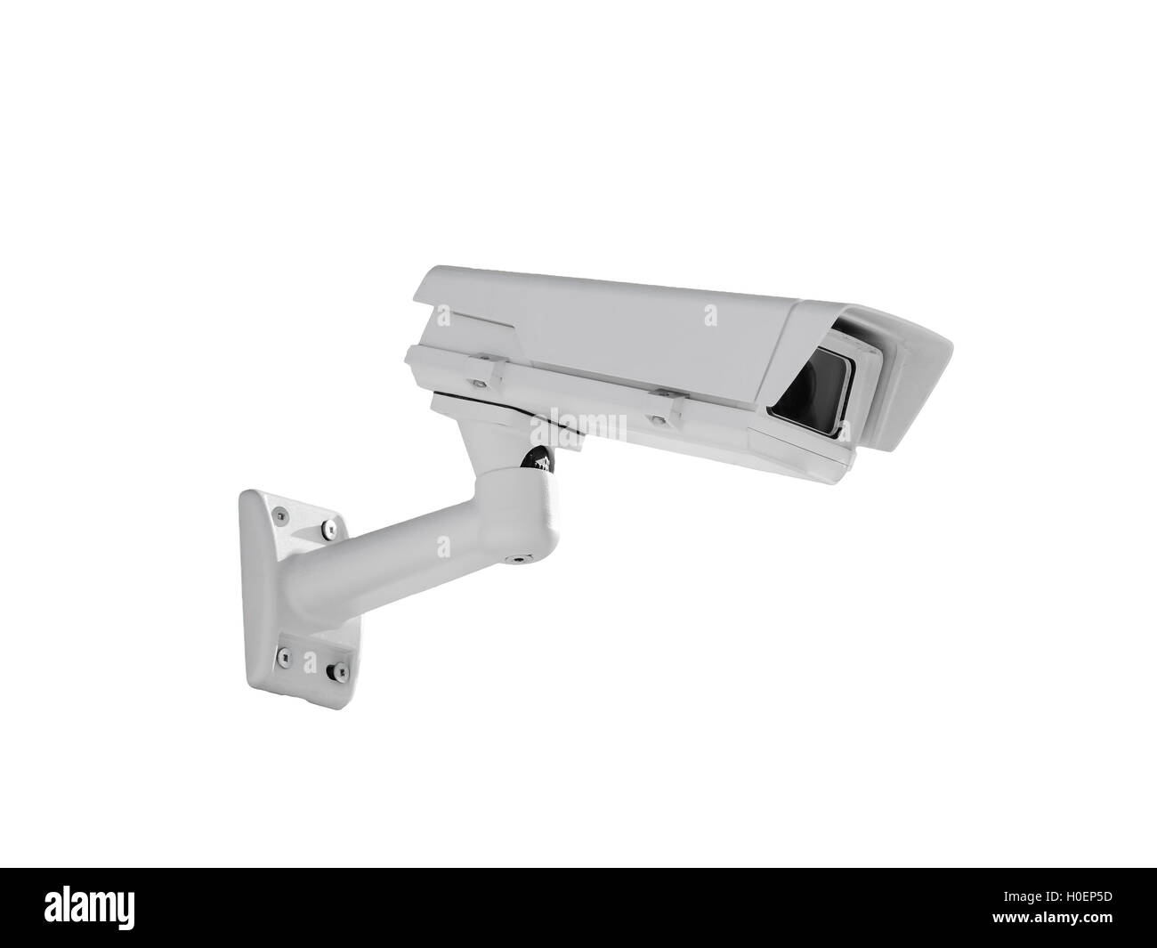Heavy duty exterior surveillance camera side view isolated on white background - Stock Image