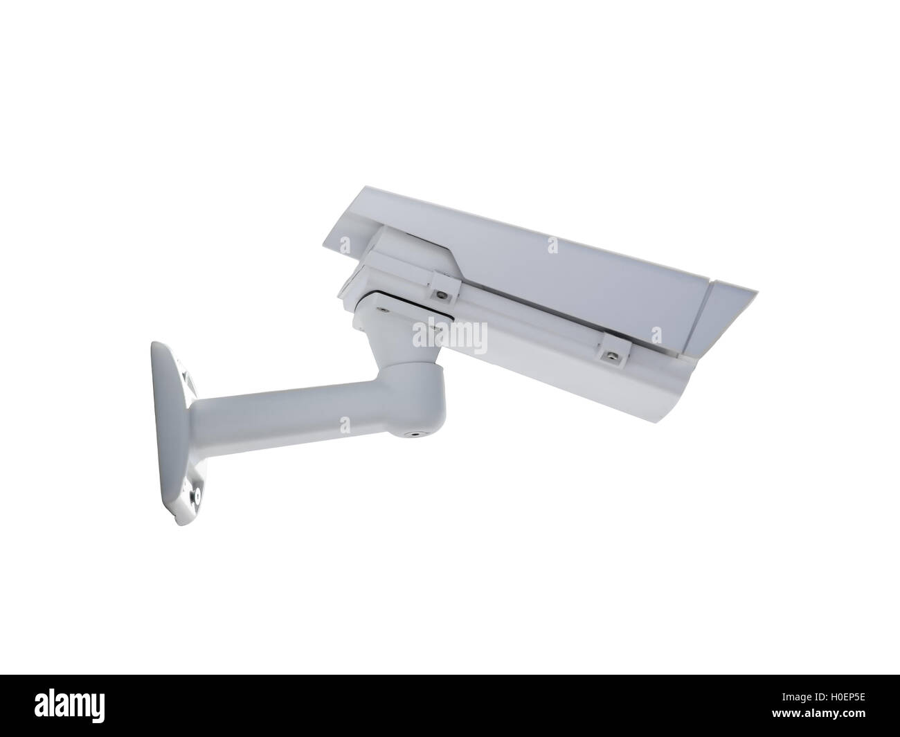 Heavy duty exterior surveillance camera back view isolated on white background - Stock Image