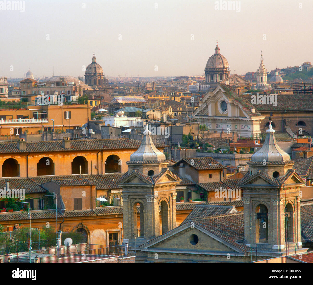 Spires and Domes of Rome, Lazio, Italy - Stock Image