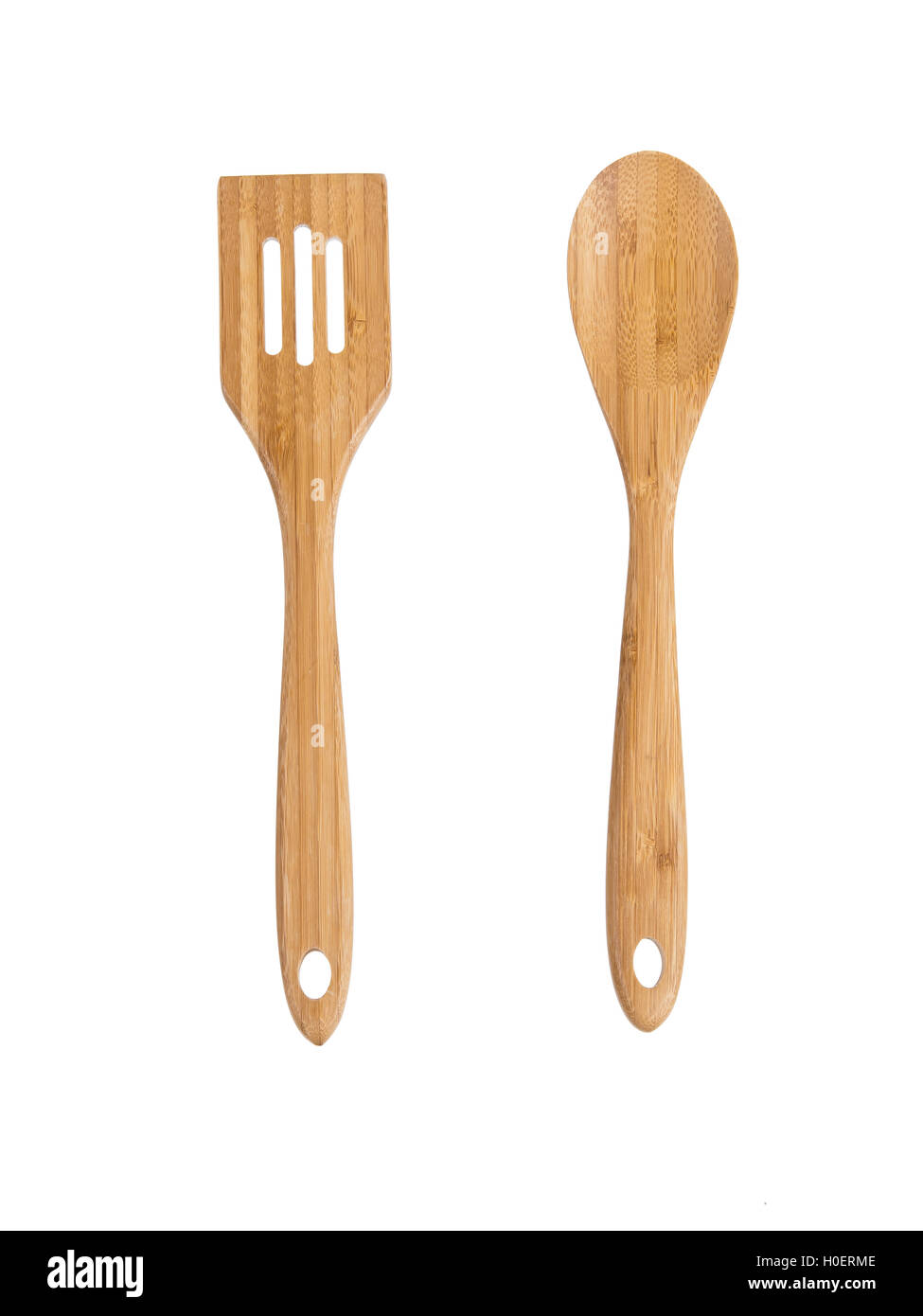 Isolated Wooden Kitchen Utensils - Stock Image