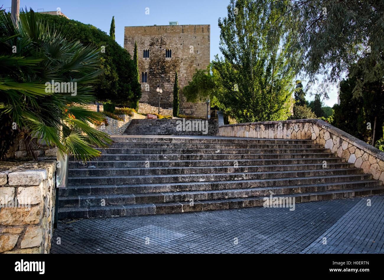 Stone steps leading to Roman tower in Tarragona, Spain - Stock Image