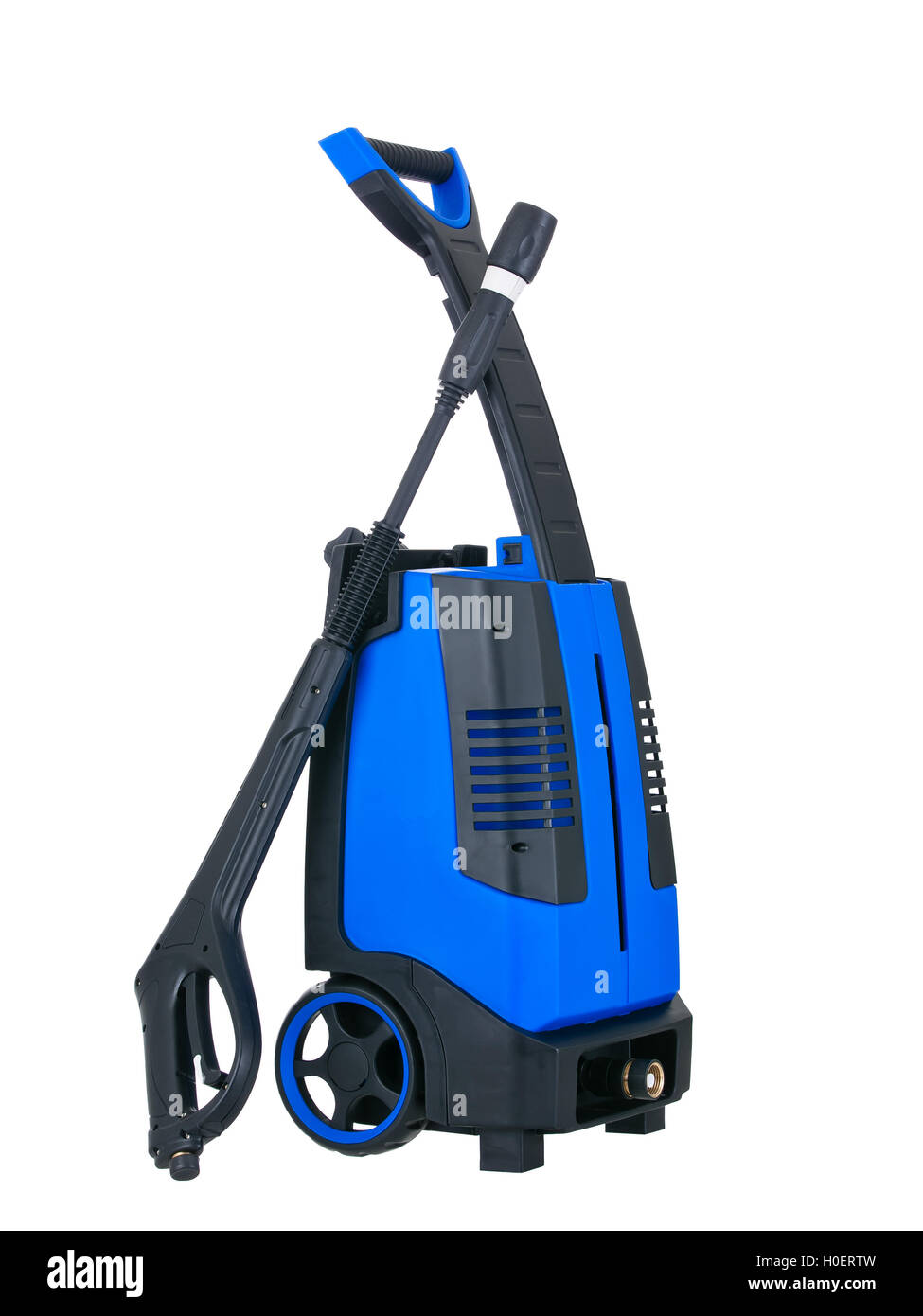 Blue pressure portable washer side view on pure white background - Stock Image