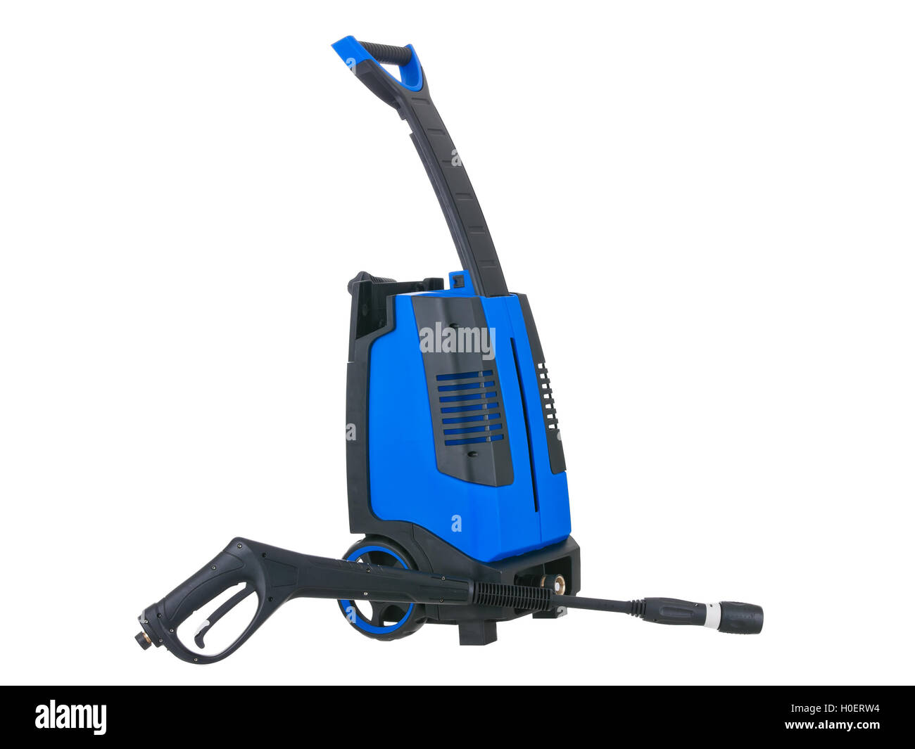 Blue pressure portable washer gun down on pure white background - Stock Image
