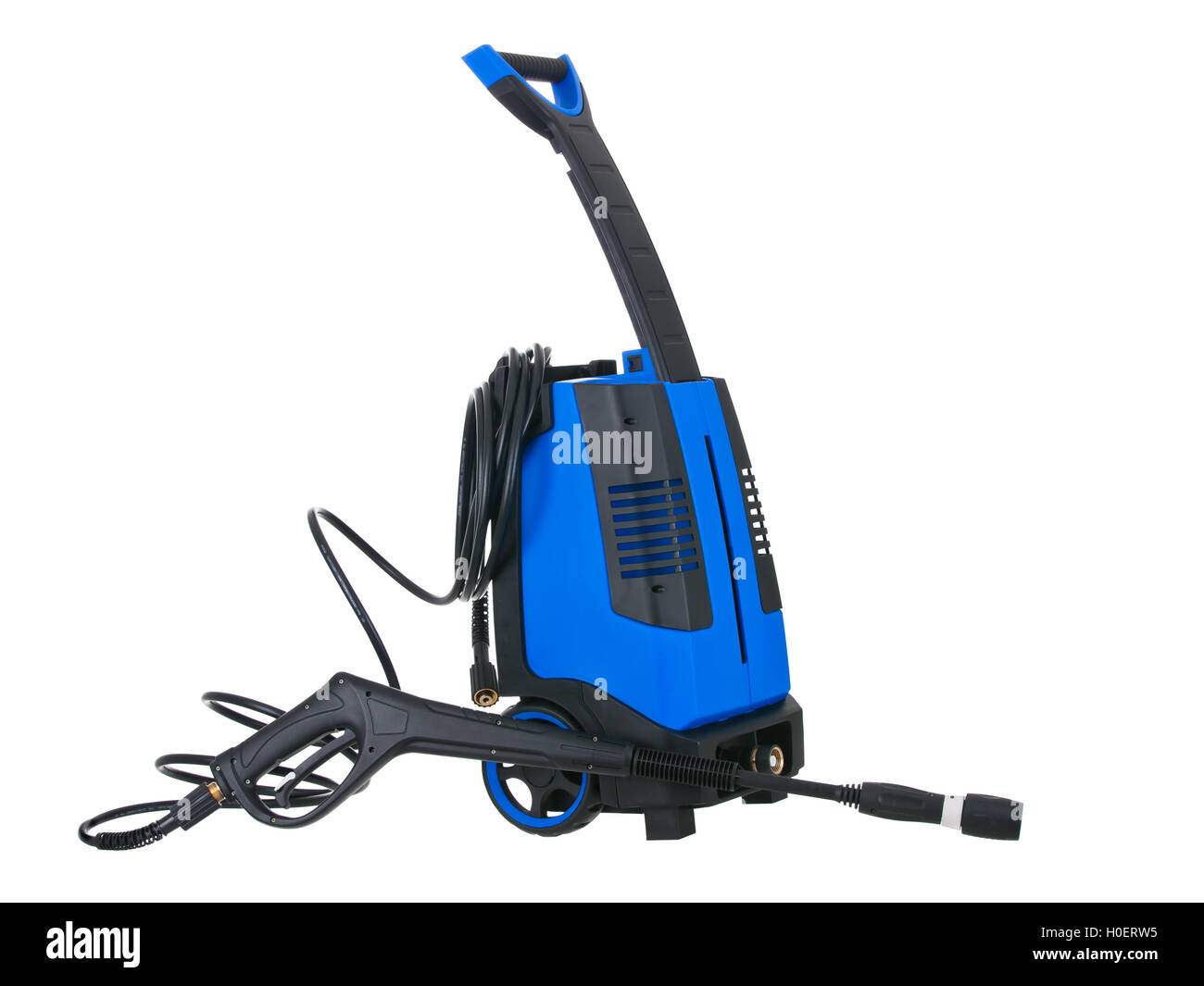Blue pressure portable washer with hose on pure white background - Stock Image