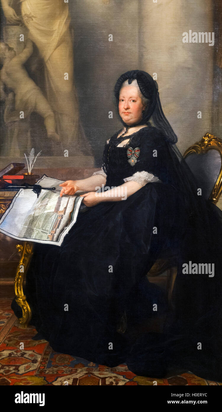 The Empress Maria Theresa (Maria Theresa Walburga Amalia Christina - 1717-1780) as a widow. Portrait by Anton von - Stock Image