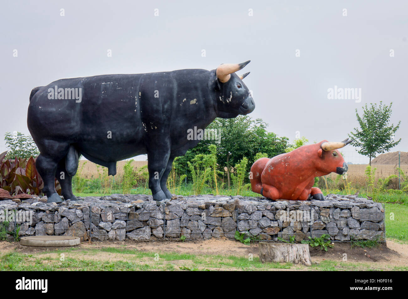 sculpture Aurochs, Bos primigenius - Stock Image