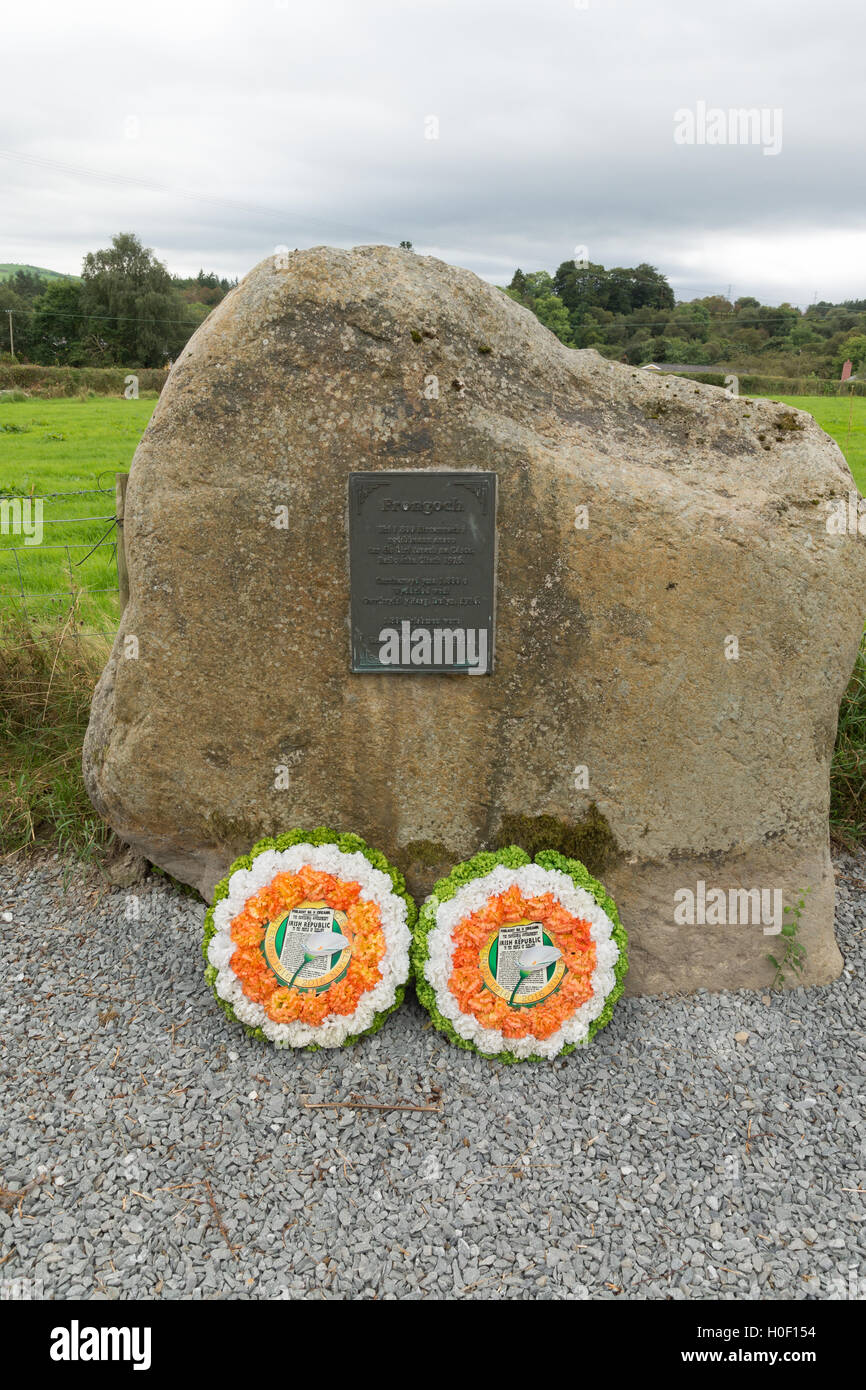 Memorial plaque and wreaths at the site of the former Irish internment camp at Frongoch near Bala North Wales - Stock Image
