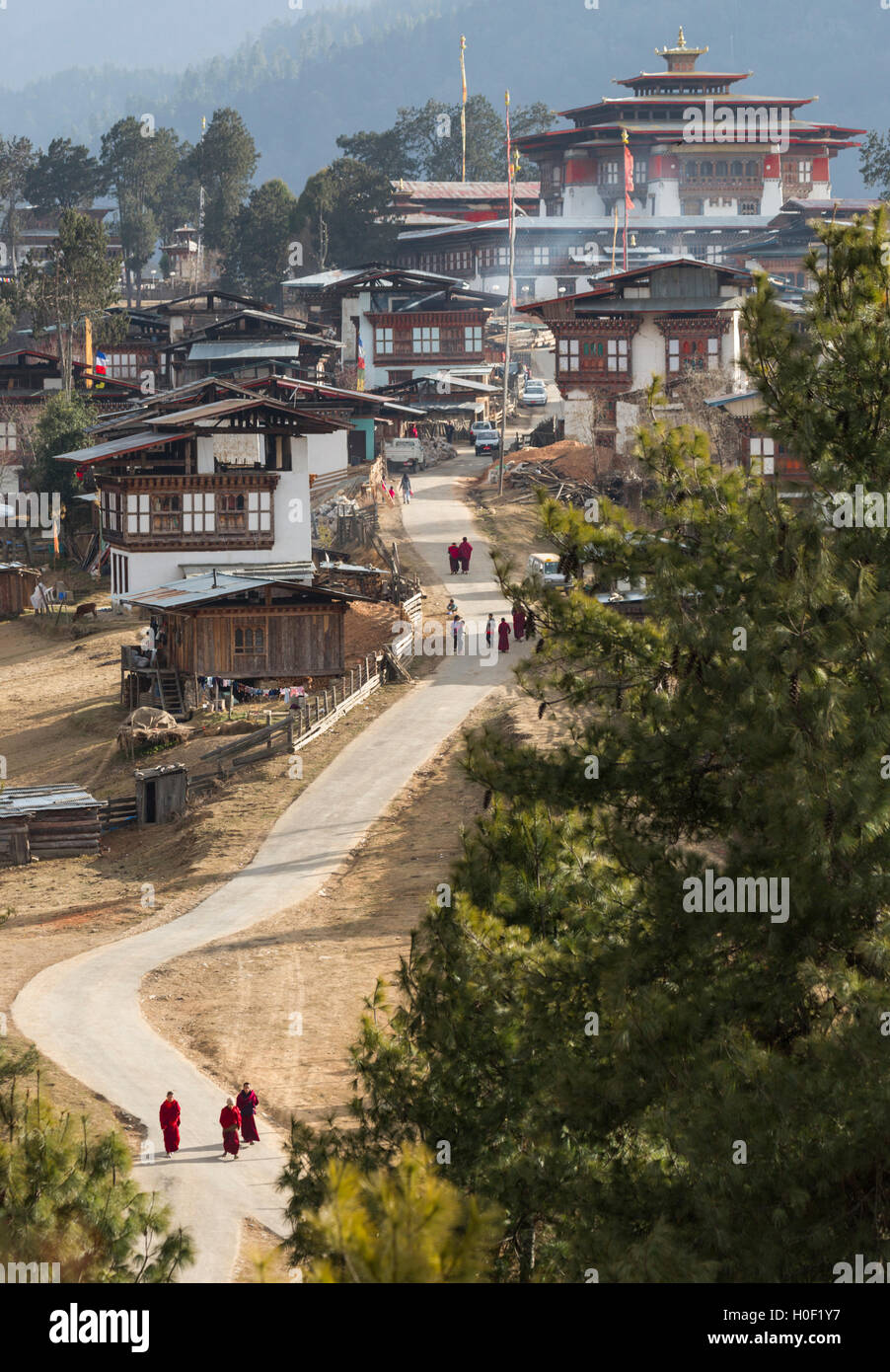 Gangtey Monastery, Phobjikha Valley, Bhutan - Stock Image