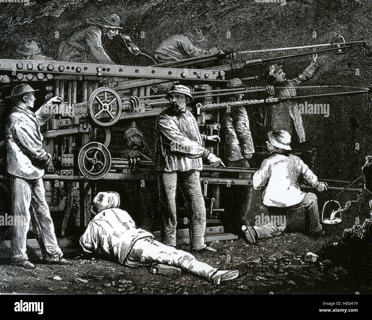DRILLING THE MONT CENIS (aka Frejus) TUNNEL under the Alps between France and Italy in 1857 using the newly invented Stock Photo