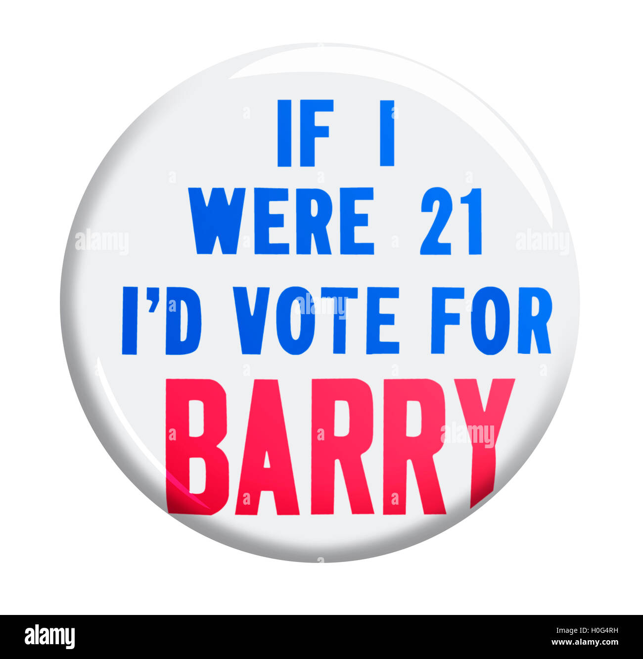 1964 Campaign IF I WERE 21 I'd VOTE FOR Barry Goldwater Button - Stock Image