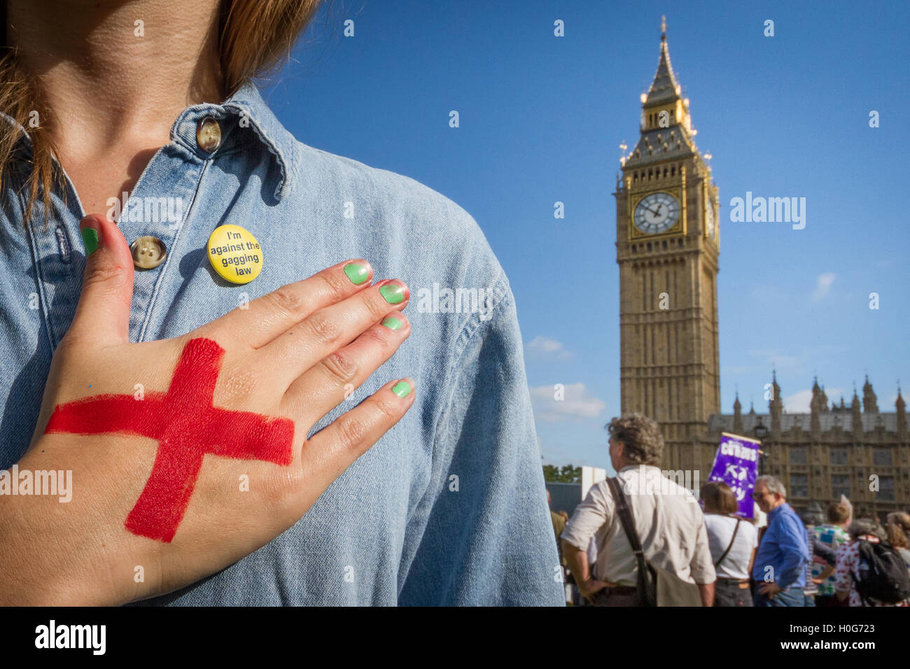 Anti-Gagging Law protest opposite Parliament buildings in London, UK. - Stock Image