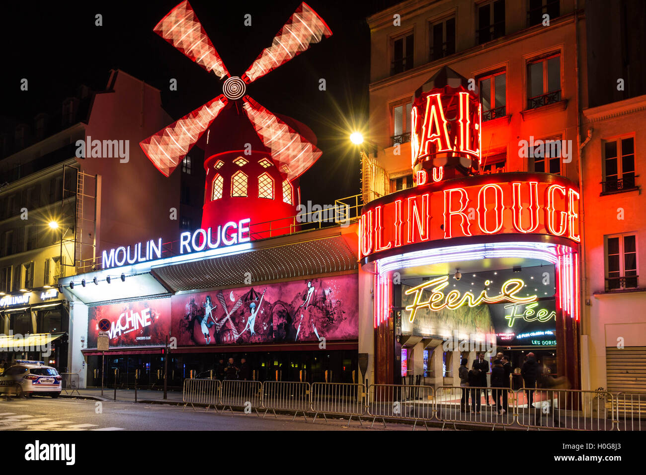 Paris, France-October 11, 2015: The cabaret Moulin Rouge at night.Paris, France. - Stock Image