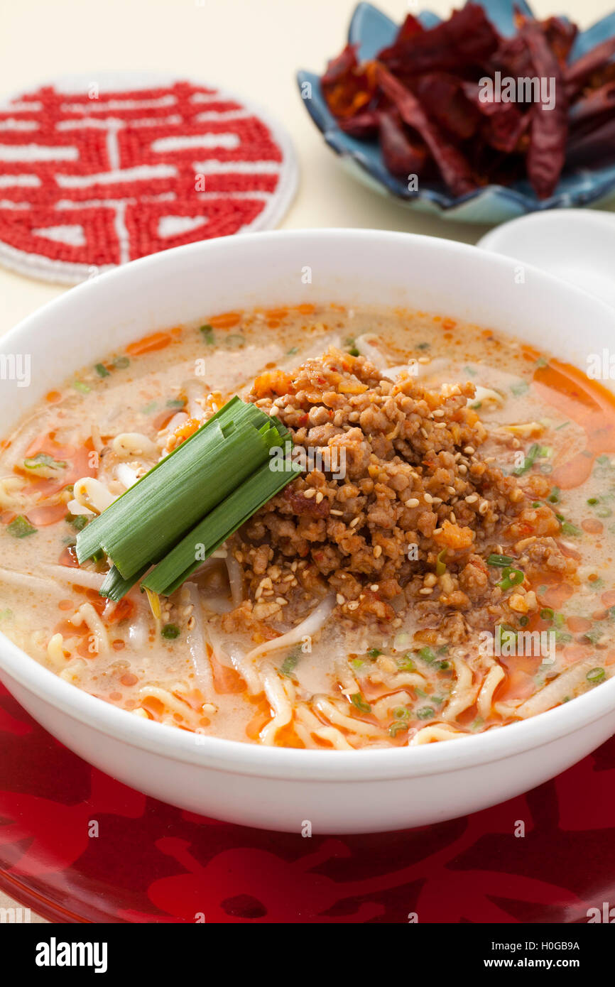 Dandan noodles with sprout and minced pork in Chinese style Stock Photo