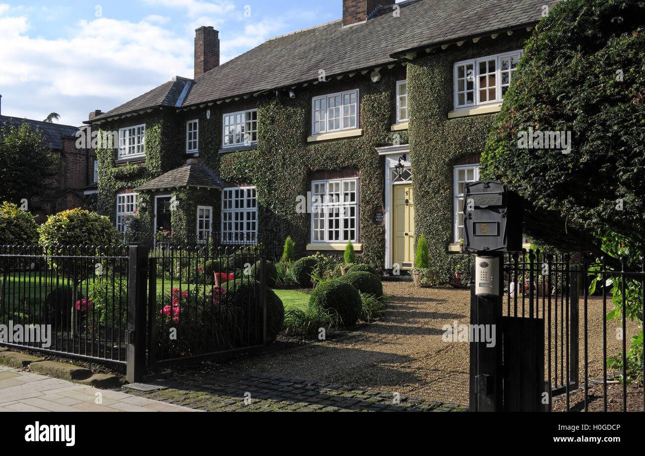Houses in Church Lane, Grappenhall Village, Warrington, Cheshire, England, WA4 3EP - Stock Image