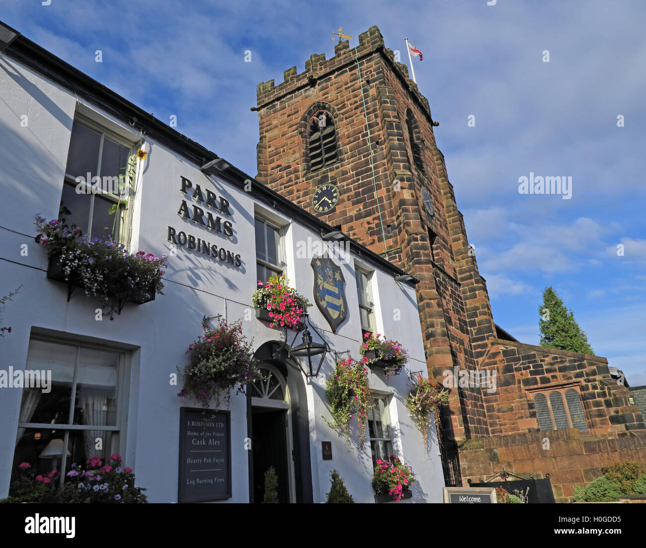 Parr Arms & Church, Grappenhall Village, Warrington, Cheshire, England, WA4 3EP - Stock Image
