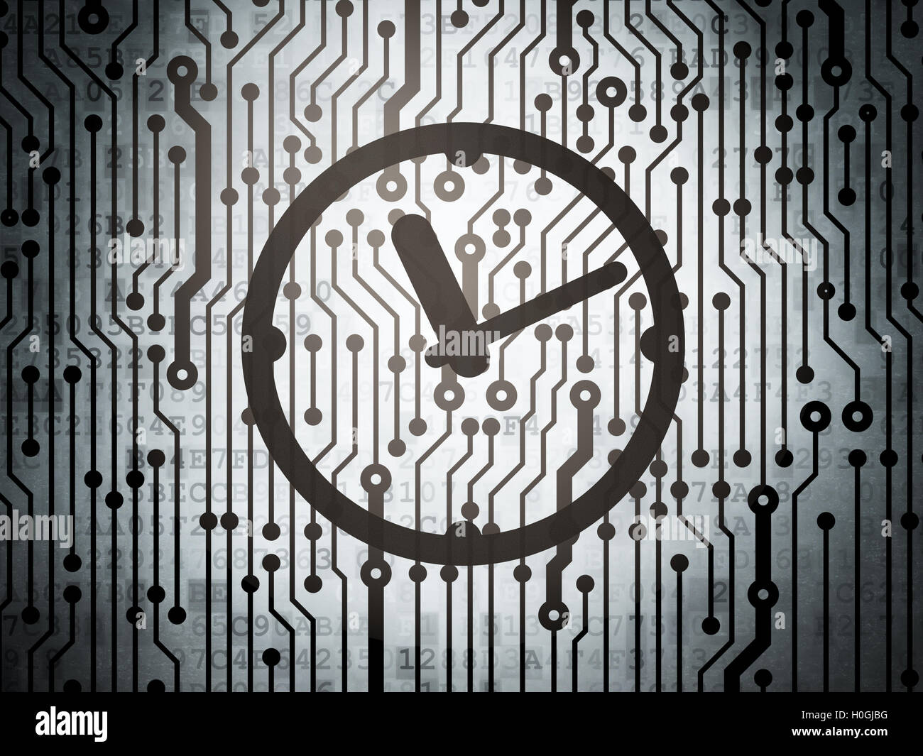 Computer Circuit Board Clock Stock Photos Wall Time Concept With Image