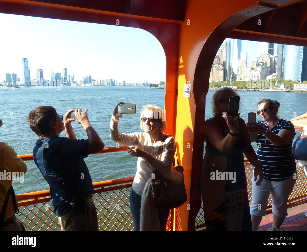 tourists, NYC, selfie, selfportrait, photographing - Stock Image