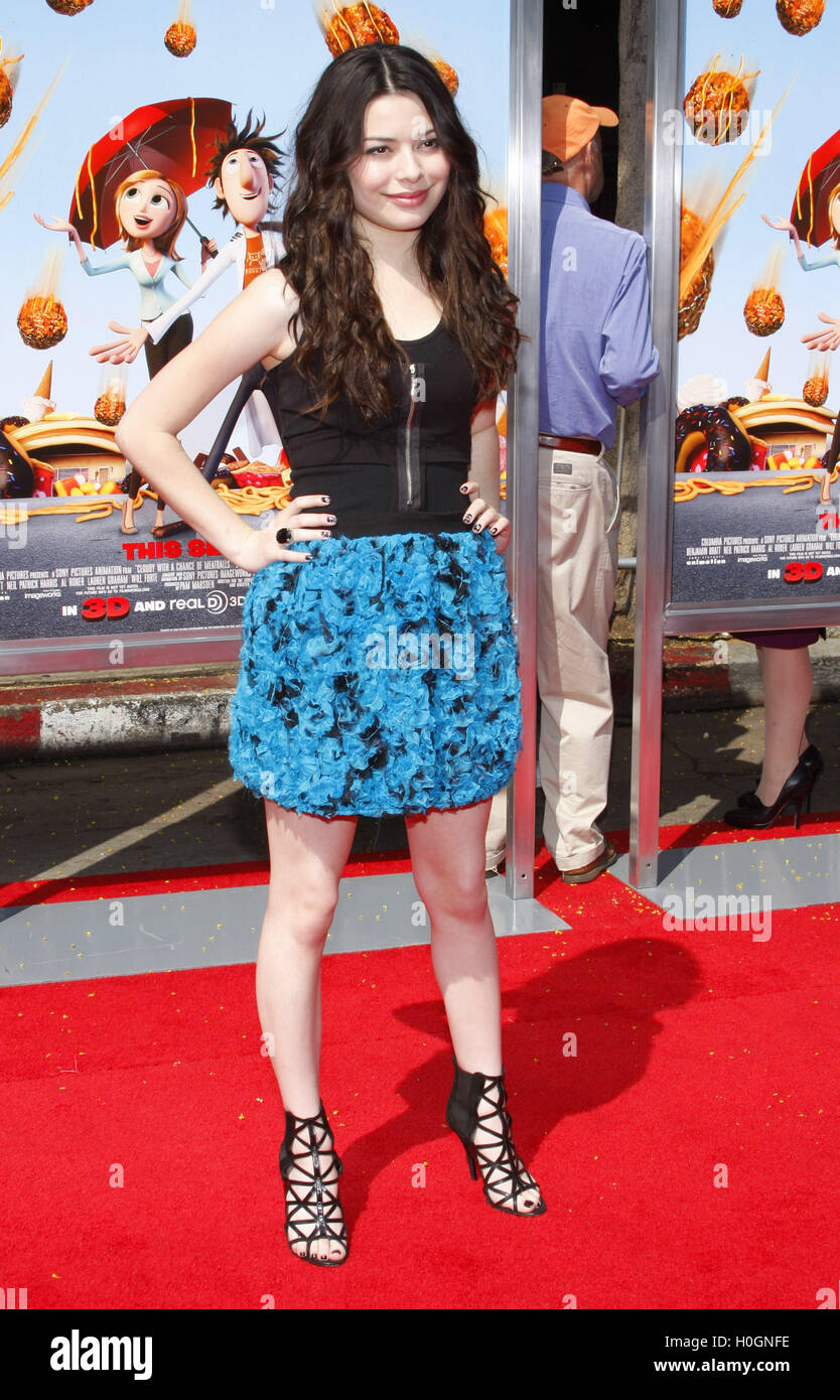 MAVRIXPHOTO.COM Miranda Cosgrove at the Los Angeles Premiere of 'Cloudy With A Chance Of Meatballs' held - Stock Image