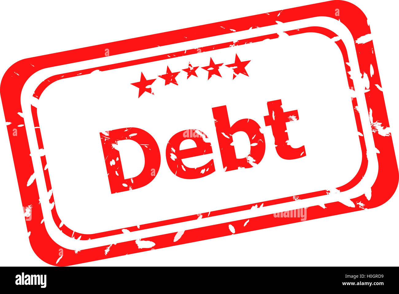 debt red rubber stamp over a white background - Stock Image