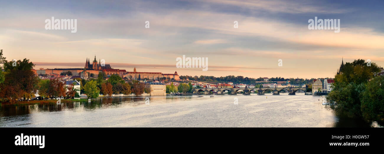 A panorama of the Charles Bridge and castle in Prague - Stock Image