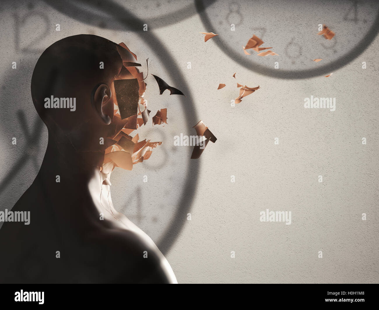 Unstoppable flow of time. 3D Rendering - Stock Image